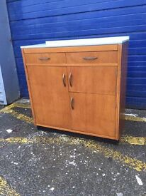 Vintage Pine Kitchen Cabinet/ Larder with Formica Worktop - Retro and Vintage