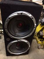 "2 12"" kenwood subs in a mtx box with a mtx 1600 watt amp $450"