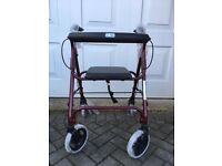 Wheeled walking frame with seat & basket - brand new, still wrapped