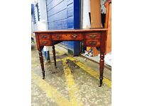Beautiful Vintage Leather Topped Mahogany Writing Desk