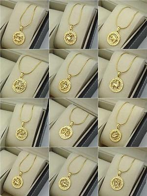 18K Yellow Gold Filled 12 Horoscope Pendant Necklace 18 Chain Charms Gf Jewelry