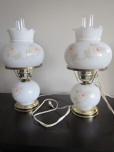 Victorian style Hurricane bedside lamps
