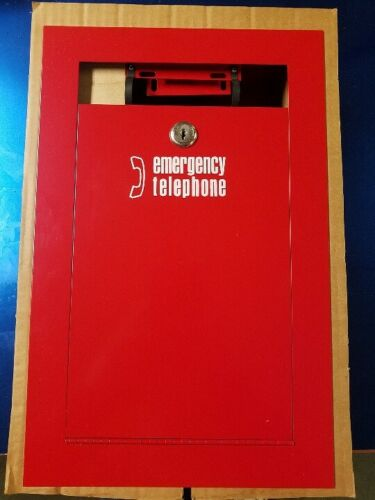 Metal Emergency Telephone Red Call Box Enclosed w/Key Corded Phone