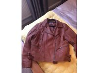 Ladies tan leather jacket size 18