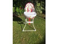 Folding wipable high chair