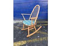 Beautiful Mid Century Vintage Blonde Ercol Rocking Chair