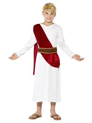 CEASER ROMAN TOGA CHILD JULIUS CAESAR THE GREAT GREEK GOD BOYS COSTUME WHITE RED