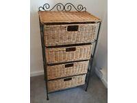 Wicker Basket Storage Unit Drawers
