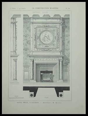 ROUBAIX, HOTEL PRIVE - 1899 - PLANCHE ARCHITECTURE - BOSSUT, CHEMINEE