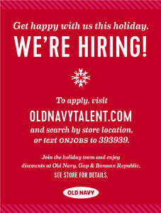 Old Navy Holiday Hiring Fair Peterborough Peterborough Area image 1