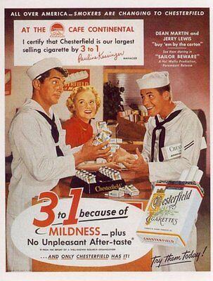 Chesterfield Cigarettes - Dean Martin Jerry Lewis Chesterfield Cigarettes - Matted Advertising Postcard