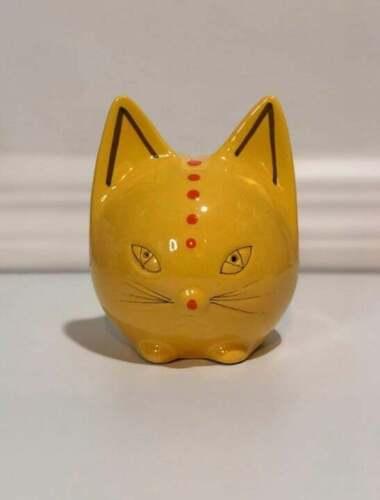 Vintage Yellow Cat Bank - Italy Art Pottery