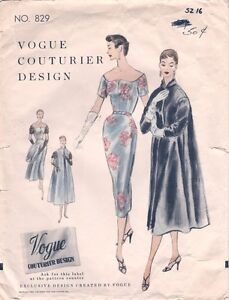 1954 Vintage VOGUE Sewing Pattern B34 DRESS & COAT (1114)