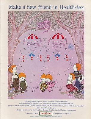 1960 Health Tex PRINT AD Children's fashion Alice in Wonderland theme dot to dot
