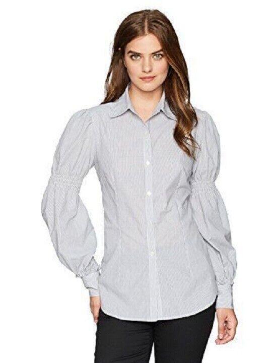 Lark & Ro Women's Woven Collared Top Button Striped Shirt Sz