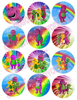 BARNEY BABY BOP Party Supplies 12 PINS Buttons FAVORS Treats Birthday Dinosaur  - Barney Birthday Party Supplies