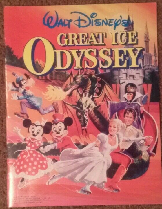 Walt Disney's Great Ice Odyssey Souvenir Program 1982 with ticket stub.