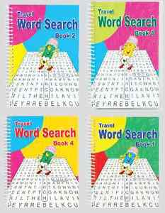 SET OF 4 x A5 SPIRAL BOUND BIG 102 PAGE WORD SEARCH PUZZLE BOOKS SERIES 3130 b/f
