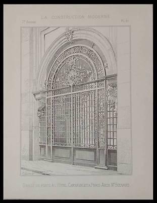PARIS, MUSEE CARNAVALET, GRILLE PORTE - 1892 - PLANCHE ARCHITECTURE -