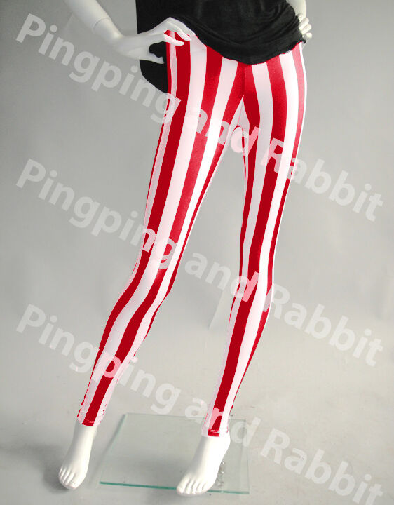 RED AND WHITE VERTICAL STRIPES MIME SPANDEX LEGGINGS PANTS CANDY ...