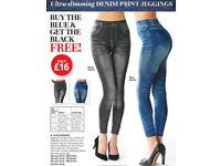 Ultra slimming denim print jeggings buy one get one FREE