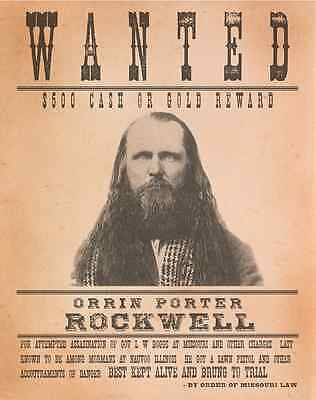 PORTER ROCKWELL WANTED Poster - Mormon Archival Print LARGE 11x14 - Nauvoo LDS