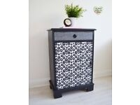 Nightstand - Cabinet - Funky Black & White Cabinet With Draw + Shelf - Night Stand Bedroom Table