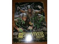 WWE Survivor Series Card Poster - Signed By Triple H & Shawn Michaels