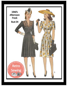 1940s Cocktail Dress Sewing Pattern- Copy