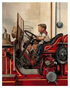 Firefighter ART * POSTER * Fireman - Fire Truck  AMAZING Vintage  MUST SEE IMAGE