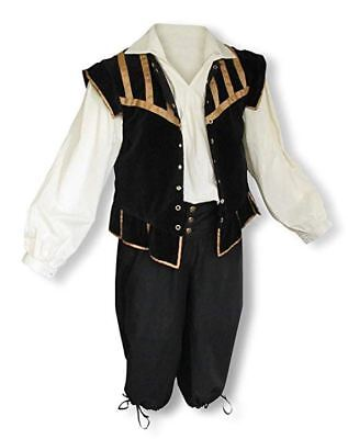 Men's Renaissance Outfit Costume Game of Thrones GOT Ren Faire Cosplay Black SCA