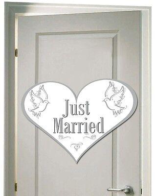 3 Türschilder JUST MARRIED aus Pappe ideenreiche HOCHZEITS DEKORATION neu Herz ()