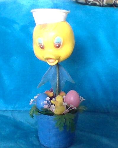 Vintage Plastic Duck with Easter Basket Decor