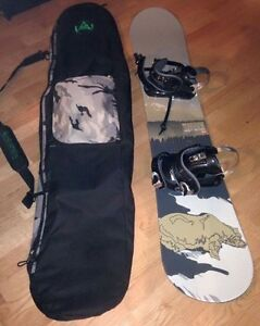 Snowboard, bag and boots