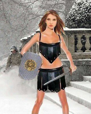 Real-Cow-Leather-2-Piece-Women -Kilt-Set-Gladiator-Roman-Kilt-LARP Halloween