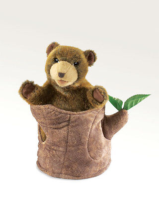 Bear In Tree Stump Puppet 2904 Peek-a-boo Free Shipping Folkmanis Puppets