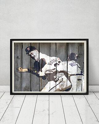 Nolan Ryan Robin Ventura Famous Baseball Fight 1993 Vintage Wood Sign Print Gift