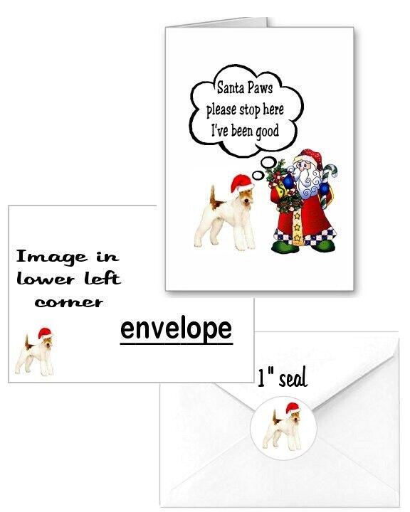 30 Wire Fox Terrier Christmas cards seals envelopes 90 pieces Santa Paws