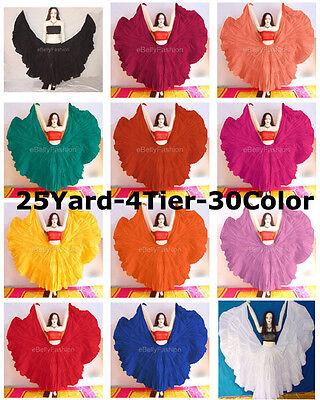 Cotton Gypsy Skirt 4 Tier 25 Yard Belly Dance Tribal Flamenco Ethenic  Tiered