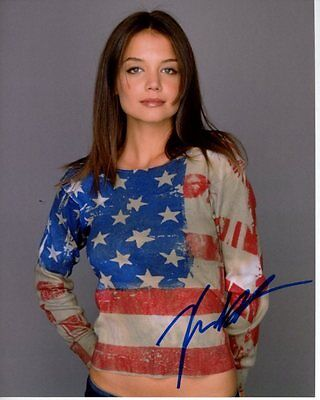 Katie Holmes Signed Autographed American Flag T Shirt Photo