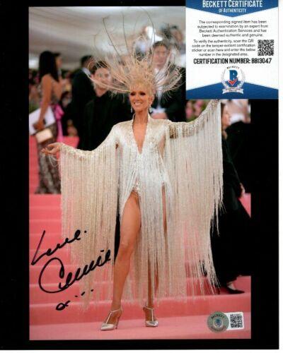 CELINE DION signed 8x10 LAS VEGAS photo Beckett BAS