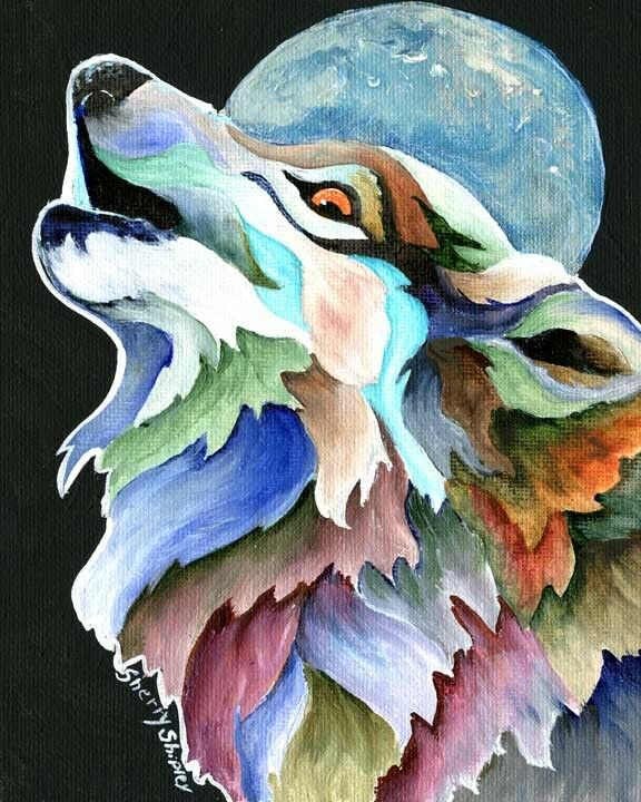 MOON SONG WOLF 8X10 Print from Artist Sherry Shipley