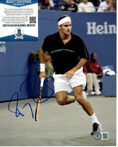 ROGER FEDERER signed 8x10 TENNIS photo Beckett BAS