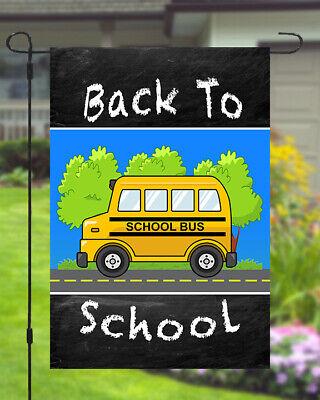 Back To School Garden Banner Flag 12x18 Yard Decor Bus Chalk Board Double Sided (Yard Flag)