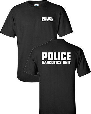 Police Narcotics Unit Law Enforcement Drugs Front   Back Mens Tee Shirt 236