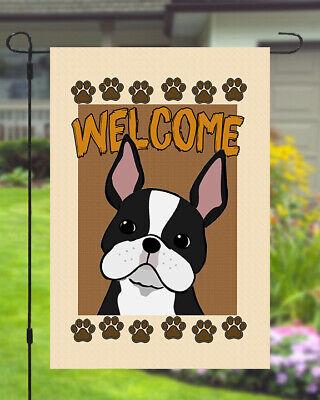 Boston Terrier Welcome Dog Garden Banner Flag 11x14 to 12x18 Pet Yard Decor Dog Garden Banner