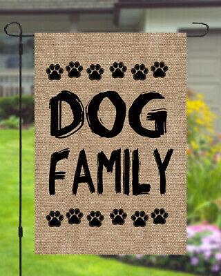Dog Family Garden Banner Flag 11X14 To 12x18 Pet Burlap Style Yard Decor Dog Garden Banner