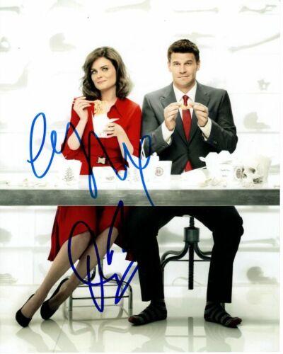 EMILY DESCHANEL and DAVID BOREANAZ signed autographed BONES photo