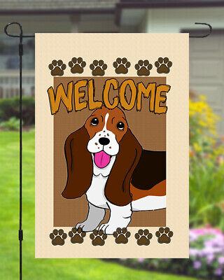 Basset Hound Welcome Dog Garden Banner Flag 11x14 to 12x18 Pet Yard Decor Breed Dog Garden Banner
