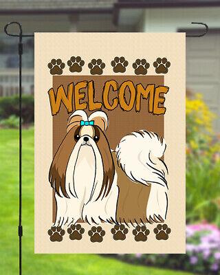 Shih Tzu Welcome Dog Garden Banner Flag 11x14 to 12x18 Pet Breed Yard Decor Dog Garden Banner